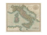 Vintage Map of Italy Premium Giclee Print by John Cary
