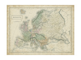 Map of Europe Prints by Sidney Hall