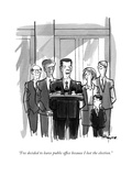 """I've decided to leave public office because I lost the election."" - New Yorker Cartoon Premium Giclee Print by Kaamran Hafeez"