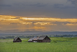 The Sun's Rays Poke Between Clouds over the Gallatin Valley Near Bozeman and Belgrade, Montana Photographic Print by Gordon Wiltsie