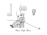 TITLE: Very High Noon. A cowboy looking at a clock pointing somewhere arou... - New Yorker Cartoon Premium Giclee Print by Paul Noth