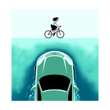 A car emerges from the deep toward a bicyclist - Cartoon Premium Giclee Print by Christoph Niemann
