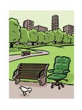 A office chair sits in the park - Cartoon Premium Giclee Print by Christoph Niemann