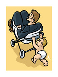 A baby begrudgingly pushes his father in a stroller. - Cartoon Premium Giclee Print by Christoph Niemann