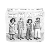 What They Brought to the Table -- a line up of relatives under titles of n... - New Yorker Cartoon Premium Giclee Print by Roz Chast
