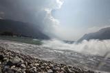 A Storm Approaches the Beach in Riva Del Garda, Lago Di Garda, Trentino, Italy Photographic Print by Ulla Lohmann