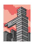 A building points that way - Cartoon Premium Giclee Print by Christoph Niemann