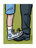 A youth and adult with their shoes tied together - Cartoon Premium Giclee Print by Christoph Niemann
