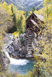 Crystal Mill Is Perched Precariously on a Rock Outcrop Above the Crystal River Stampa fotografica di Robbie George