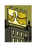 A billboard depicts a butt kick - New Yorker Cartoon Premium Giclee Print by Christoph Niemann