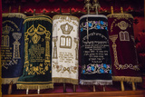 A Group of Torah Scrolls in the Neve Shalom Synagogue in Casablanca Photographic Print by Richard Nowitz