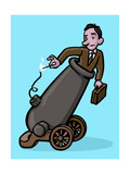 A man is set to shoot himself off to work - Cartoon Premium Giclee Print by Christoph Niemann