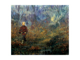 Moose Hunt: a Young Boy on His First Hunt Passes by a Bog Filled with Watchful Moose Giclee Print by Stanley Meltzoff