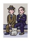 Two men share a cast - Cartoon Premium Giclee Print by Christoph Niemann