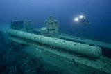 Exploring a World War Ii Shipwreck in the Ionian Sea Photographic Print by Andy Mann