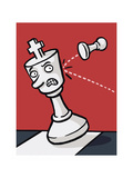 A pawn knocks over a King - Cartoon Premium Giclee Print by Christoph Niemann
