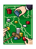 Boundries are played with poker chips - Cartoon Premium Giclee Print by Christoph Niemann