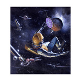 Race to the Stars: Astronauts Walk in Deep Space as a Galaxy Floats in the Background Giclee Print by Stanley Meltzoff