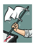 Waving the white flag - New Yorker Cartoon Premium Giclee Print by Christoph Niemann