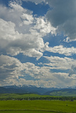 Cumulus Clouds Drift over the Southern Gallatin Valley and Spanish Peaks South of Bozeman, Montana Photographic Print by Gordon Wiltsie