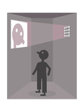 A prisoner sees his reflection - Cartoon Premium Giclee Print by Christoph Niemann
