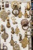 Assorted Brass Door Knockers for Sale in the Medina of Fez Fotografisk tryk af Richard Nowitz