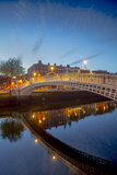 Ha'Penny Bridge and River Liffey at Dusk Photographic Print by Tim Thompson