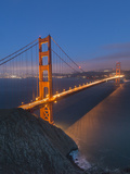 Lights on the Golden Gate Bridge at Night Photographic Print by Jeff Mauritzen