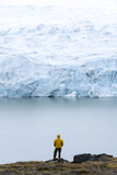A Hiker Dwarfed by the Fracture Zone of a Glacier on the Greenland Ice Sheet Photographic Print by Jason Edwards