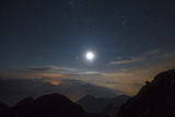 The Moon over Pala from the Peak of Cima D'Asta Photographic Print by Ulla Lohmann