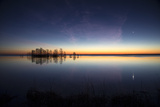 Sunrise with Light Pink Cloud and Planet over Lake Mattamuskeet and a Stand of Bald Cypress Trees Photographic Print by Robbie George