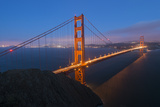 Lights on the Golden Gate Bridge at Dusk Photographic Print by Jeff Mauritzen