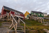 Stairs Lead to Cottages Perched on Rocky Outcrops in an Arctic Village Lámina fotográfica por Edwards, Jason