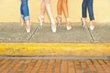 Professional Ballerinas Wearing Ballet Shoes with Jeans Photographic Print by Kike Calvo