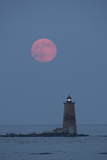 A Large Red Moon over Whaleback Lighthouse Photographic Print by Robbie George