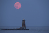 Both the Supermoon and Whaleback Lighthouse Illuminate the Night Photographic Print by Robbie George