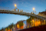 Reflections of Ha'Penny Bridge in River Liffey Photographic Print by Tim Thompson