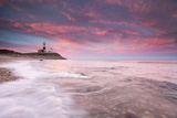 Beautiful Evening Clouds Swirl around Montauk Point Lighthouse Photographic Print by Robbie George