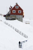 A Stairway to a Colorful House in a Snowy Landscape Photographic Print by Sergio Pitamitz