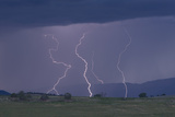 Multiple Lightning Strikes Find Ground Photographic Print by Robbie George