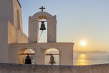 A Summer Sunset on the Mediterranean Island of Santorini, with a Historic Church and a Bell Tower Fotoprint van Babak Tafreshi