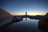 Dusk Settles into Night at Peggy's Point Lighthouse Photographic Print by Robbie George