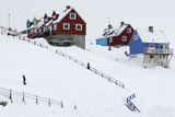 A Stairway to Colorful Houses in a Snowy Landscape Photographic Print by Sergio Pitamitz