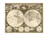 Science Source - Map of the World, 1660 - Giclee Baskı