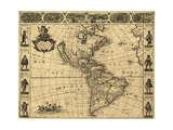 Map of the Americas, 1660 Giclee Print by  Science Source