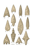 Neolithic and Bronze Age Arrowheads, Artwork Giclee Print by  Science Source