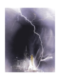 Challenger struck by lightning Giclee Print by  Science Source