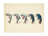 Evolution of Fish into Old Man, c. 1870 Giclee Print by  Science Source