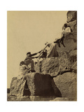 Climbing the Great Pyramid of Giza, 19th Century Photographic Print by  Science Source