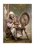 Irish Spinner and Spinning Wheel, 1890s Reprodukcja zdjęcia autor Science Source